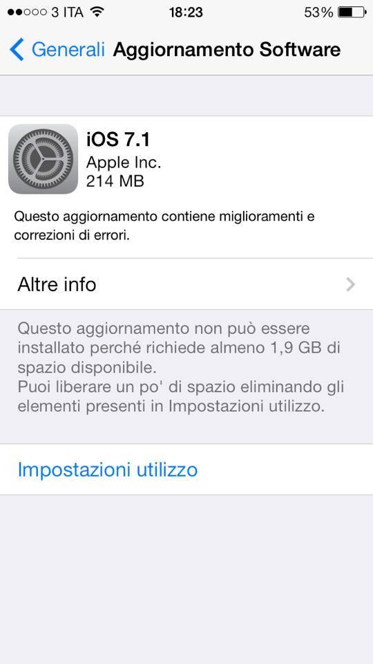 Apple iOS 7.1 - aggiornamento OTA