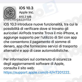 Aggiornamento Apple iOS 10.3 (TecnoGazzetta)